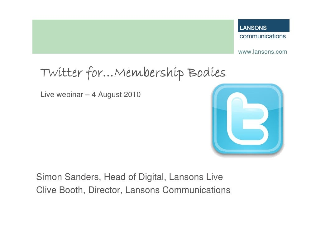 Twitter for membership organisations