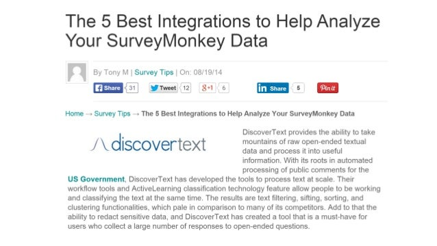 The 5 Best Integrations to Help Analyze Your SurveyMonkey Data  By Tony M 1 Survey Tips    On:  08/19/14  @ ! Tw= °*i12' 8...