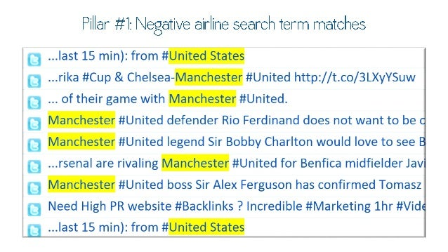 Pillar #1 :  Negative airline search term  matches . ..last 15 min):  from #United States  . ..rika #Cup & Che  sea—Manche...