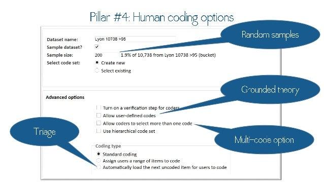 "Pillar #4: Human coding opti - Random  Dataset name:   -Y0"" 10733 >95 S a m p l e S  Sample dataset?  4 Sample size:  200 ..."