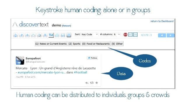 Keystroke human coding:  alone or in QFOAKLS  return to Dashboard  l  discovertext uemo. m.. s.. .r.  !  ' Sort: KeyCode v...