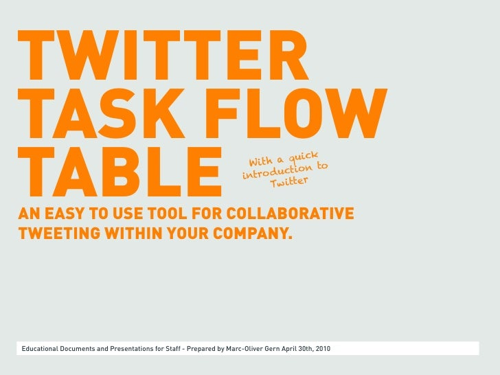 TWITTER TASK FLOW TABLE                                                                                 quick             ...