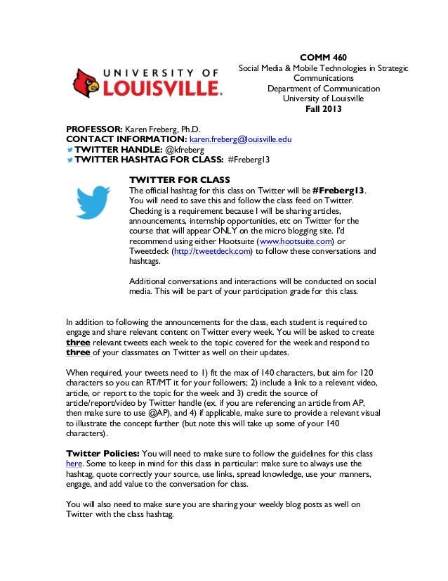 COMM 460 Social Media & Mobile Technologies in Strategic Communications Department of Communication University of Louisvil...