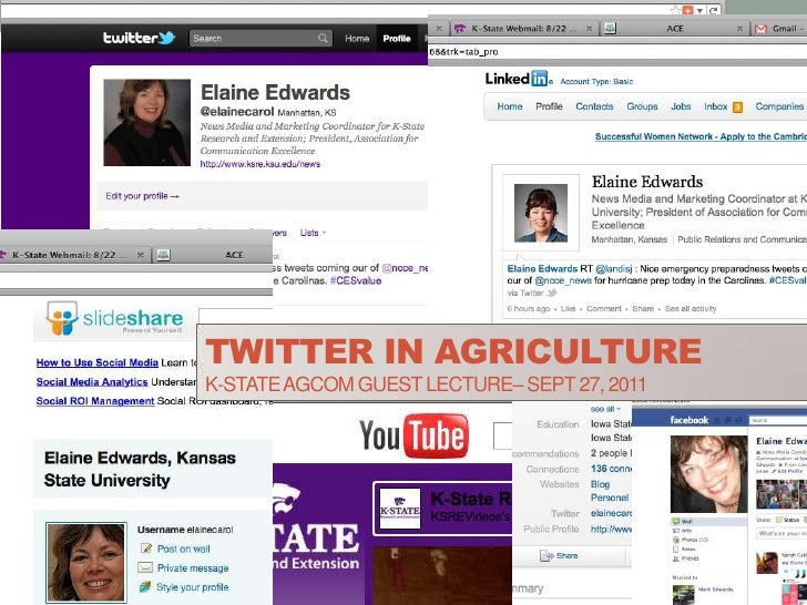 Twitter in agricultureK-State AGComguest lecture– Sept 27, 2011<br />