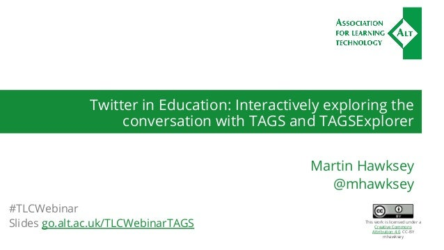 Twitter in Education: Interactively exploring the conversation with TAGS and TAGSExplorer Martin Hawksey @mhawksey #TLCWeb...