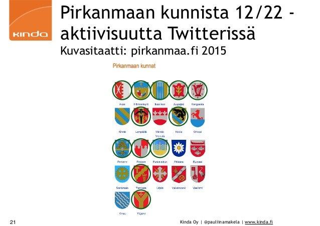 Kinda Oy | @pauliinamakela | www.kinda.fi Pirkanmaan kunnista 12/22 - aktiivisuutta Twitterissä Kuvasitaatti: pirkanmaa.fi...