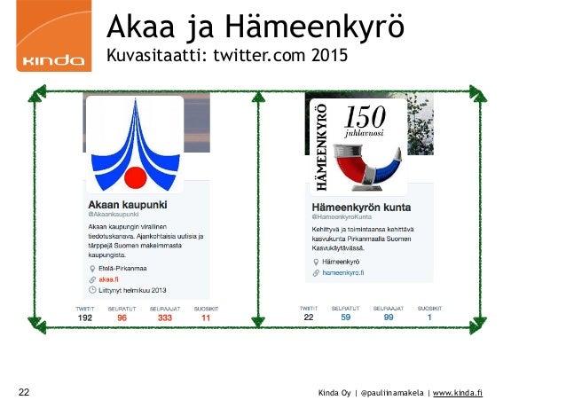 Kinda Oy | @pauliinamakela | www.kinda.fi Akaa ja Hämeenkyrö Kuvasitaatti: twitter.com 2015 22