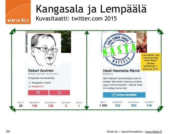 Kinda Oy | @pauliinamakela | www.kinda.fi Kangasala ja Lempäälä Kuvasitaatti: twitter.com 2015 24 Lempäälän uusi kunnanjoh...