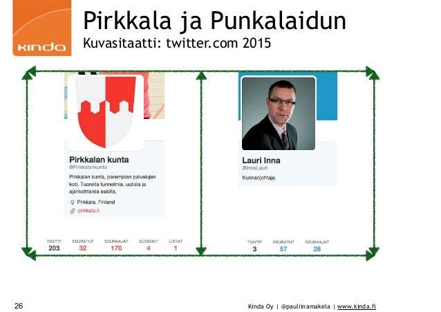 Kinda Oy | @pauliinamakela | www.kinda.fi Pirkkala ja Punkalaidun Kuvasitaatti: twitter.com 2015 26
