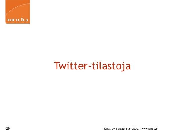 Kinda Oy | @pauliinamakela | www.kinda.fi Twitter-tilastoja 29