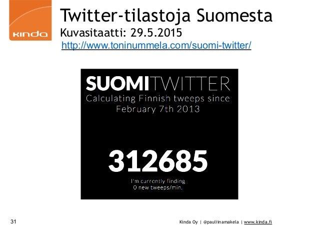 Kinda Oy | @pauliinamakela | www.kinda.fi Twitter-tilastoja Suomesta Kuvasitaatti: 29.5.2015 31 http://www.toninummela.com...