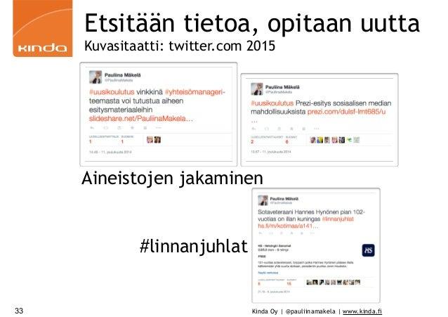 Kinda Oy | @pauliinamakela | www.kinda.fi33 Etsitään tietoa, opitaan uutta Kuvasitaatti: twitter.com 2015 Aineistojen jaka...