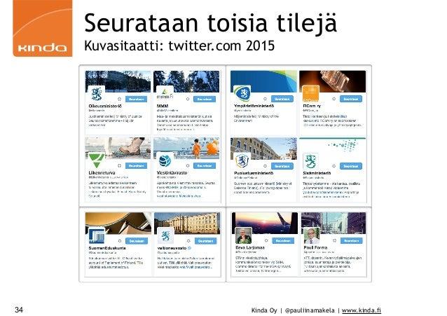 Kinda Oy | @pauliinamakela | www.kinda.fi34 Seurataan toisia tilejä Kuvasitaatti: twitter.com 2015