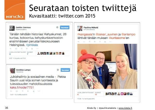 Kinda Oy | @pauliinamakela | www.kinda.fi35 Seurataan toisten twiittejä Kuvasitaatti: twitter.com 2015