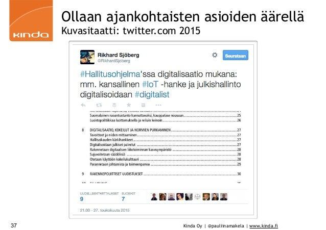 Kinda Oy | @pauliinamakela | www.kinda.fi37 Ollaan ajankohtaisten asioiden äärellä Kuvasitaatti: twitter.com 2015