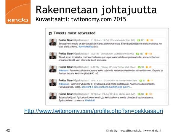 Kinda Oy | @pauliinamakela | www.kinda.fi42 Rakennetaan johtajuutta Kuvasitaatti: twitonomy.com 2015 http://www.twitonomy....