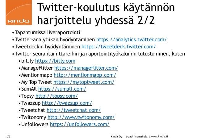 Kinda Oy | @pauliinamakela | www.kinda.fi Twitter-koulutus käytännön harjoittelu yhdessä 2/2 •Tapahtumissa liveraportointi...