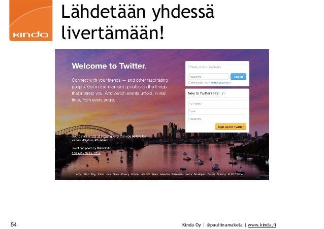 Kinda Oy | @pauliinamakela | www.kinda.fi Lähdetään yhdessä livertämään! 54