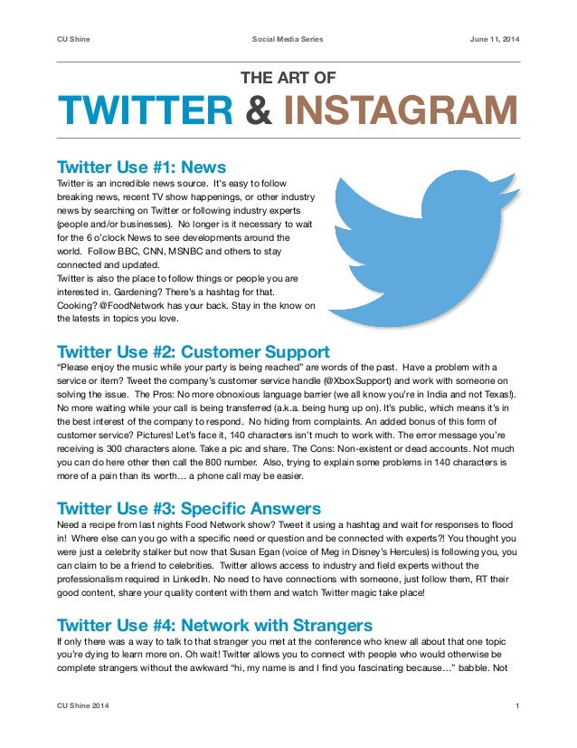 CU Shine	 Social Media Series June 11, 2014 THE ART OF 