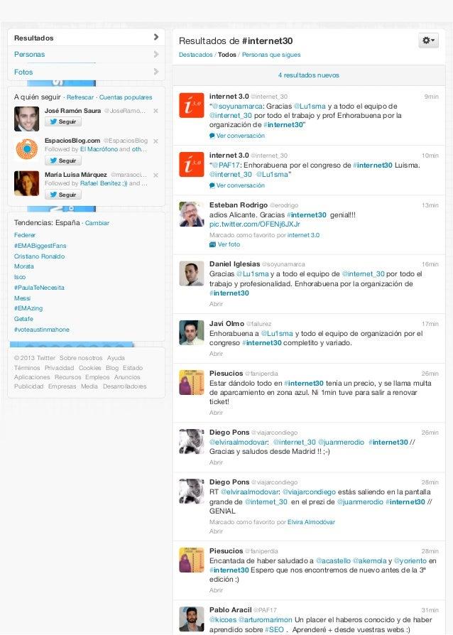 Resultados  Resultados de #internet30  Personas  Destacados / Todos / Personas que sigues  Fotos  4 resultados nuevos  A q...