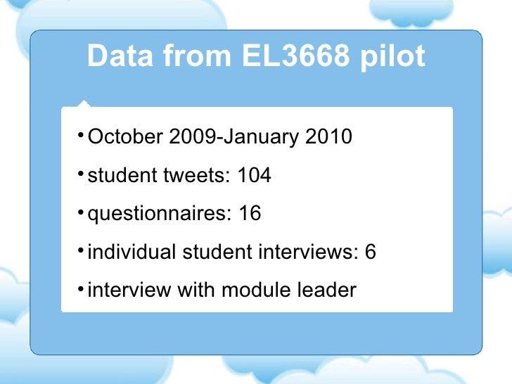 Data from EL3668 pilot <ul><li>October 2009-January 2010 </li></ul><ul><li>student tweets: 104 </li></ul><ul><li>questionn...