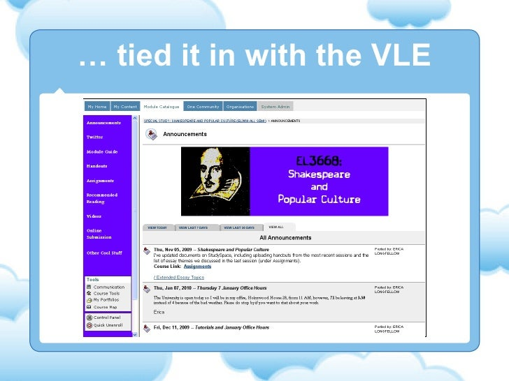 …  tied it in with the VLE