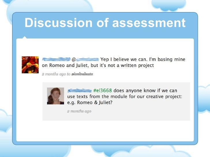 Discussion of assessment