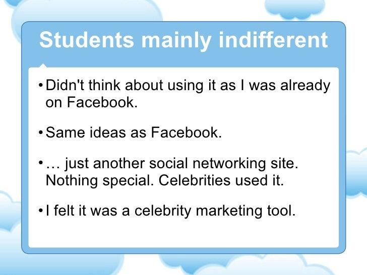 <ul><li>Didn't think about using it as I was already on Facebook. </li></ul><ul><li>Same ideas as Facebook. </li></ul><ul>...