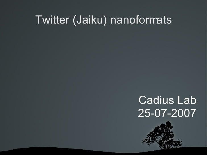 Twitter (Jaiku) nanoformats <ul><ul><li>Cadius Lab </li></ul></ul><ul><ul><li>25-07-2007 </li></ul></ul>