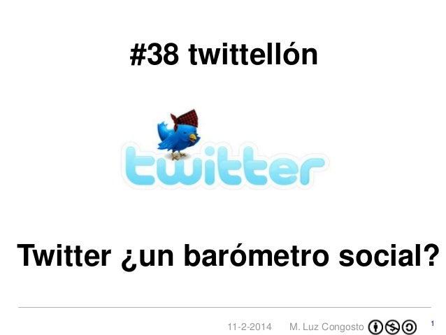 #38 twittellón  Twitter ¿un barómetro social? 11-2-2014  M. Luz Congosto  1