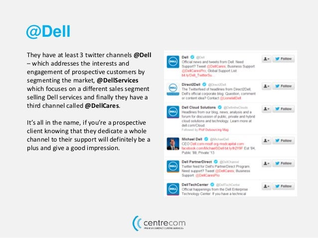 @Dell They have at least 3 twitter channels @Dell – which addresses the interests and engagement of prospective customers ...