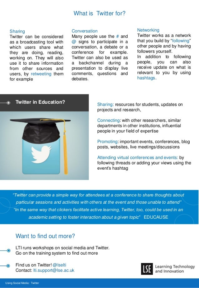 What is Twitter for? Using Social Media: Twitter Want to find out more? LTI runs workshops on social media and Twitter. Go...