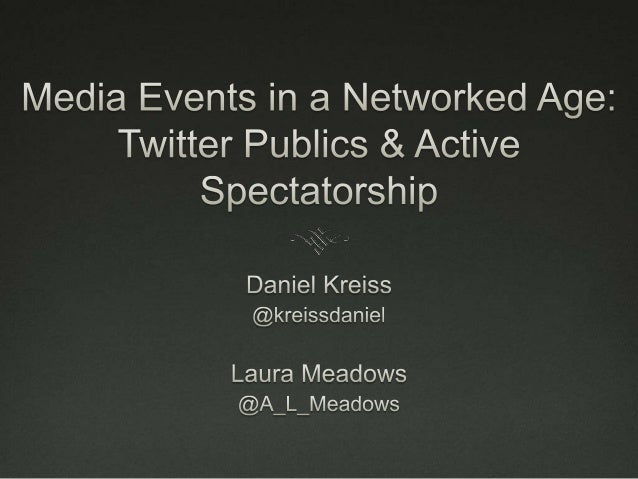 "AGENDA Method The contemporary media event Twitter publics and ""active  spectatorship"""