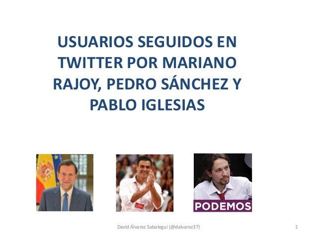 USUARIOS SEGUIDOS EN TWITTER POR MARIANO RAJOY, PEDRO SÁNCHEZ Y PABLO IGLESIAS David Álvarez Sabalegui (@dalvarez37) 1