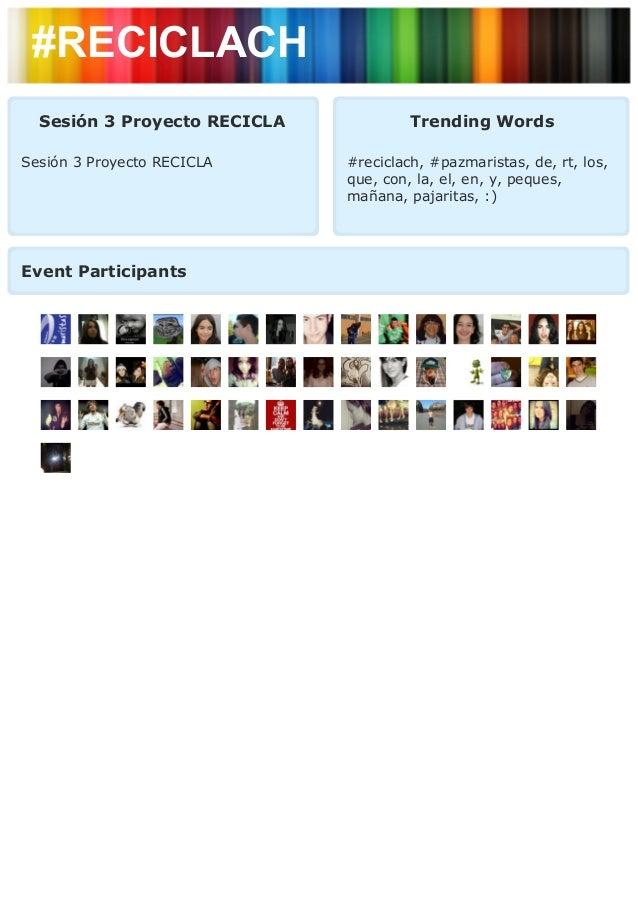 #RECICLACH  Sesión 3 Proyecto RECICLA            Trending WordsSesión 3 Proyecto RECICLA     #reciclach, #pazmaristas, de,...