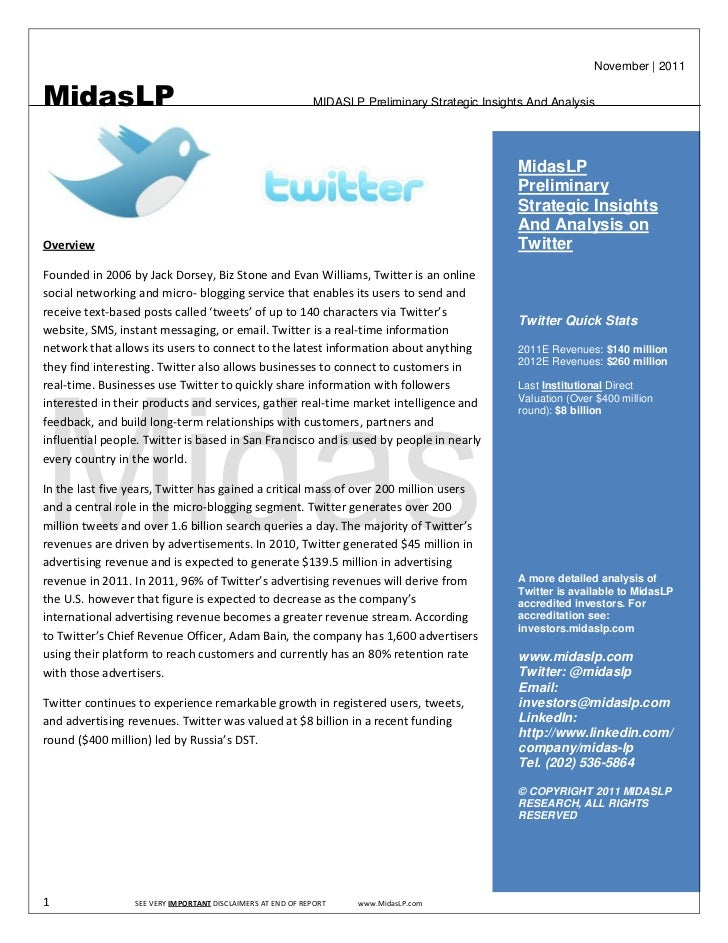 November   2011MidasLP                                                     MIDASLP Preliminary Strategic Insights And Anal...