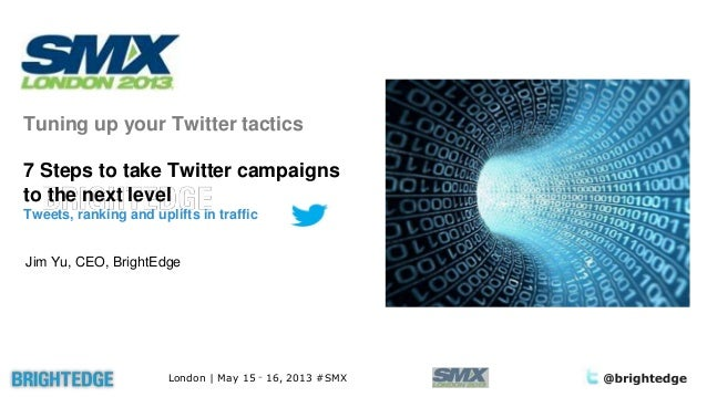 London | May 15 – 16, 2013 #SMXTuning up your Twitter tactics7 Steps to take Twitter campaignsto the next levelTweets, ran...