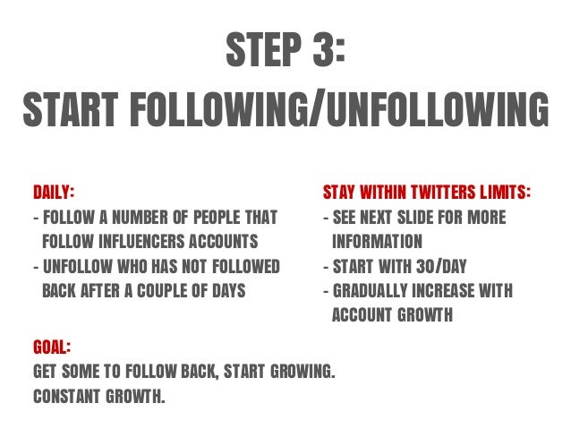 STEP 3: START FOLLOWING/UNFOLLOWING DAILY: - FOLLOW A NUMBER OF PEOPLE THAT FOLLOW INFLUENCERS ACCOUNTS - UNFOLLOW WHO HAS...