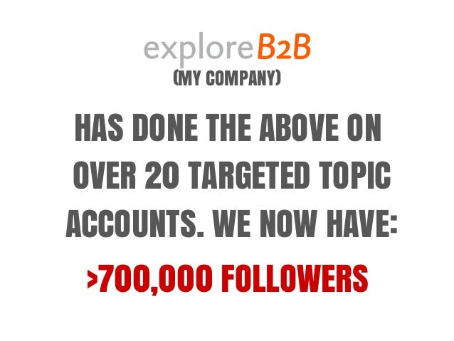 (MY COMPANY) HAS DONE THE ABOVE ON OVER 20 TARGETED TOPIC ACCOUNTS. WE NOW HAVE: >700,000 FOLLOWERS