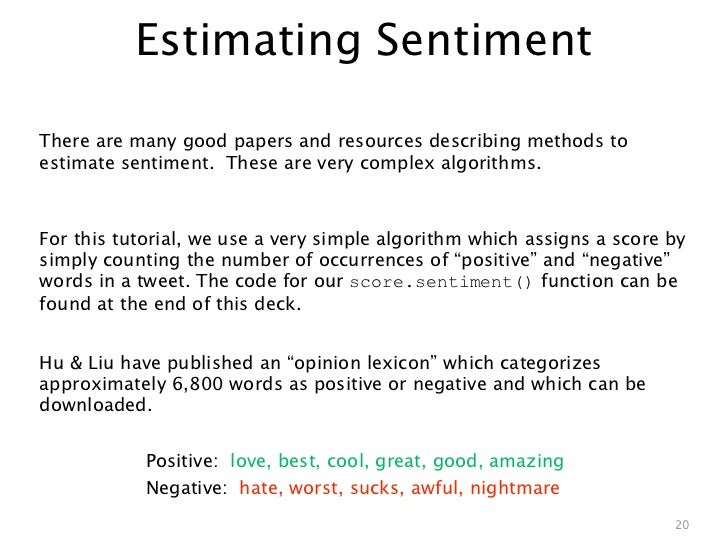 Estimating SentimentThere are many good papers and resources describing methods toestimate sentiment. These are very compl...