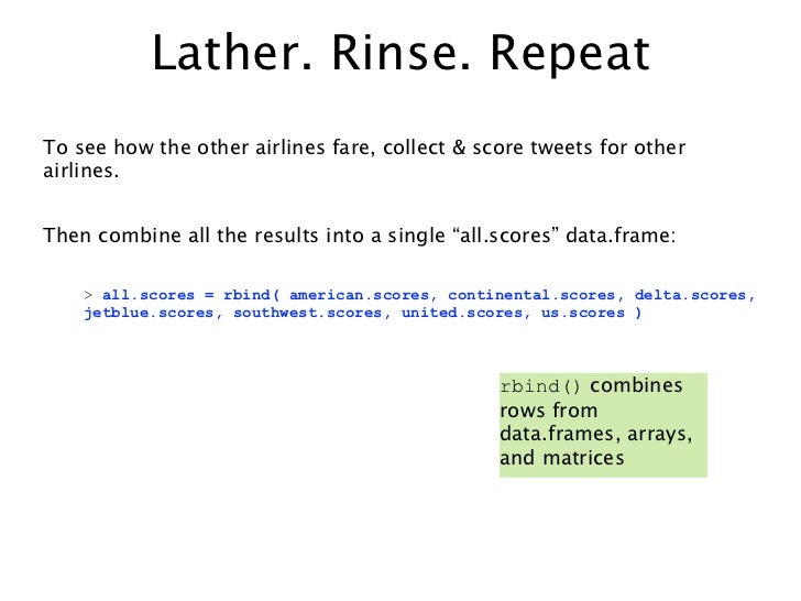 Lather. Rinse. RepeatTo see how the other airlines fare, collect & score tweets for otherairlines.Then combine all the res...