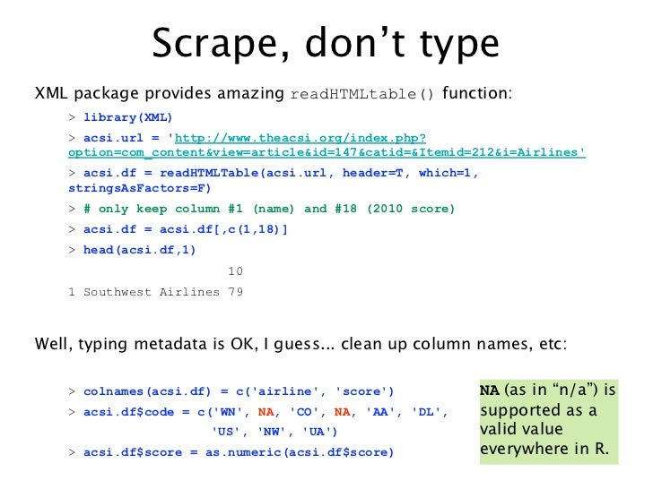 Scrape, don't typeXML package provides amazing readHTMLtable() function:    > library(XML)    > acsi.url = http://www.thea...