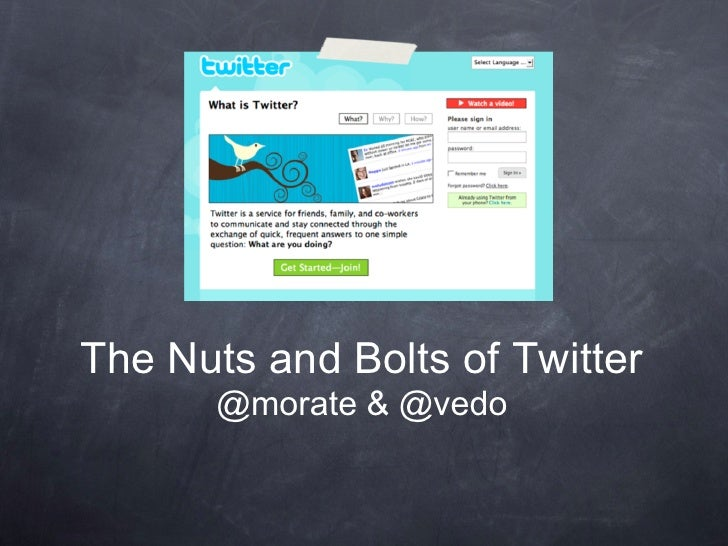 The Nuts and Bolts of Twitter        @morate & @vedo