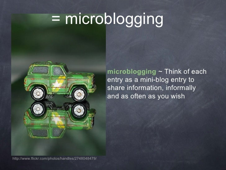 = microblogging                                                      microblogging ~ Think of each                        ...