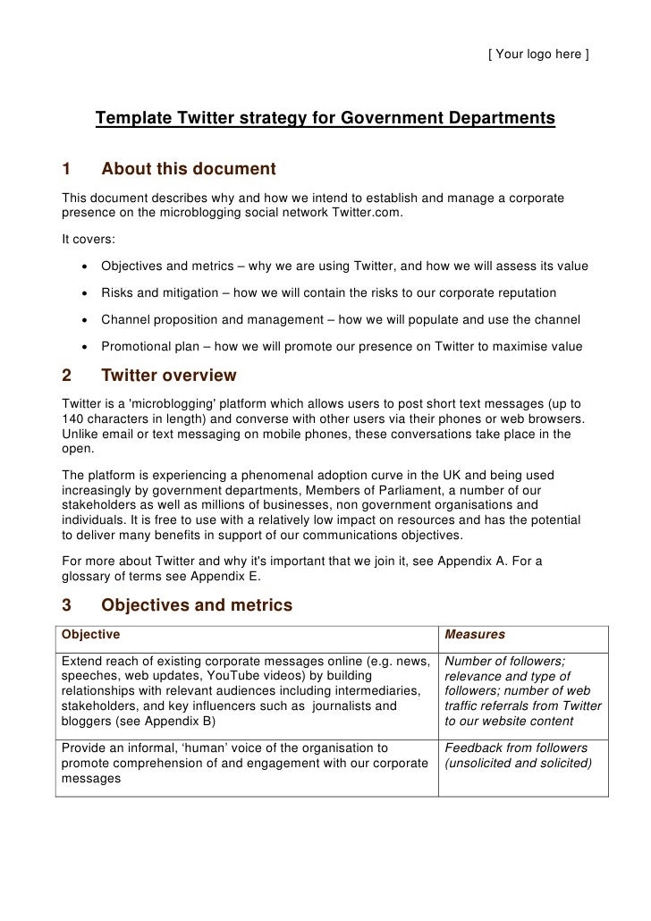 [ Your logo here ]            Template Twitter strategy for Government Departments  1       About this document This docum...