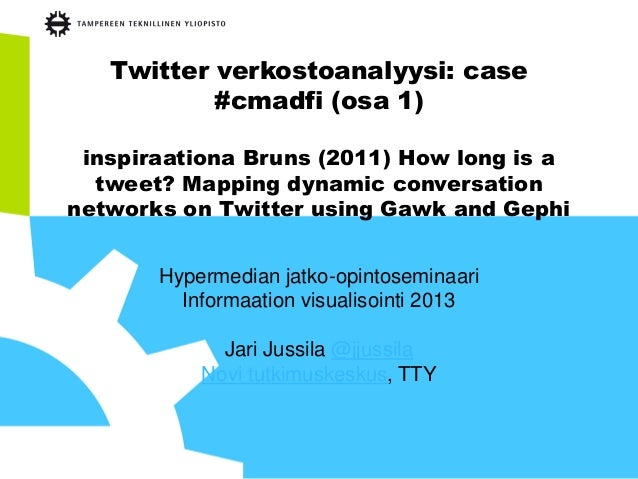 Twitter verkostoanalyysi: case#cmadfi (osa 1)inspiraationa Bruns (2011) How long is atweet? Mapping dynamic conversationne...