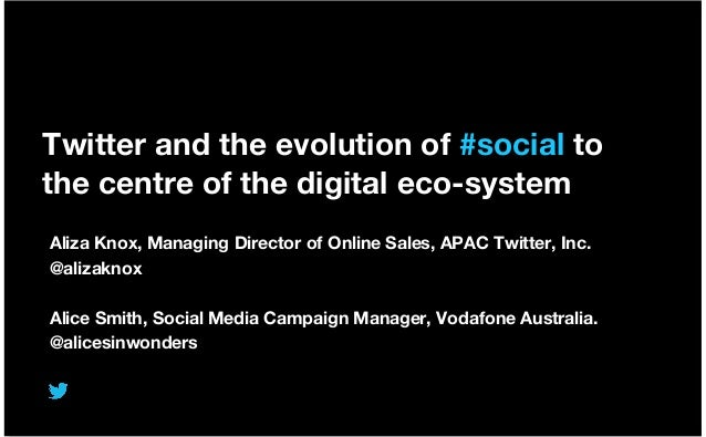 Twitter and the evolution of #social to the centre of the digital eco-system Aliza Knox, Managing Director of Online Sales...
