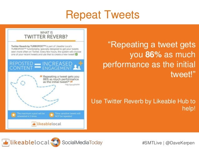 """Repeat Tweets Use Twitter Reverb by Likeable Hub to help! """"Repeating a tweet gets you 86% as much performance as the initi..."""