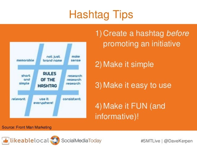Hashtag Tips 1)Create a hashtag before promoting an initiative 2)Make it simple 3)Make it easy to use 4)Make it FUN (and i...