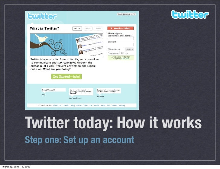 Twitter today: How it works                   Step one: Set up an account  Thursday, June 11, 2009